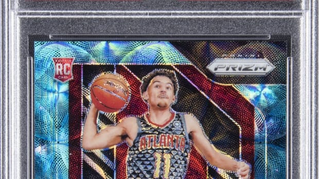 A 2018 Panini Prizm Trae Young rookie card that set a record at Goldin Auctions.