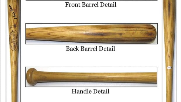 A Hank Aaron game-used bat included in PSA's new bat pop report.
