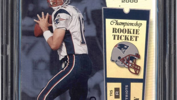 2000 Tom Brady Playoff Contenders card up for bid at Lelands.