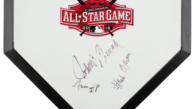 Home plate from 2015 MLB All-Star Game signed by Hank Aaron, Willie Mays and Johnny Bench.