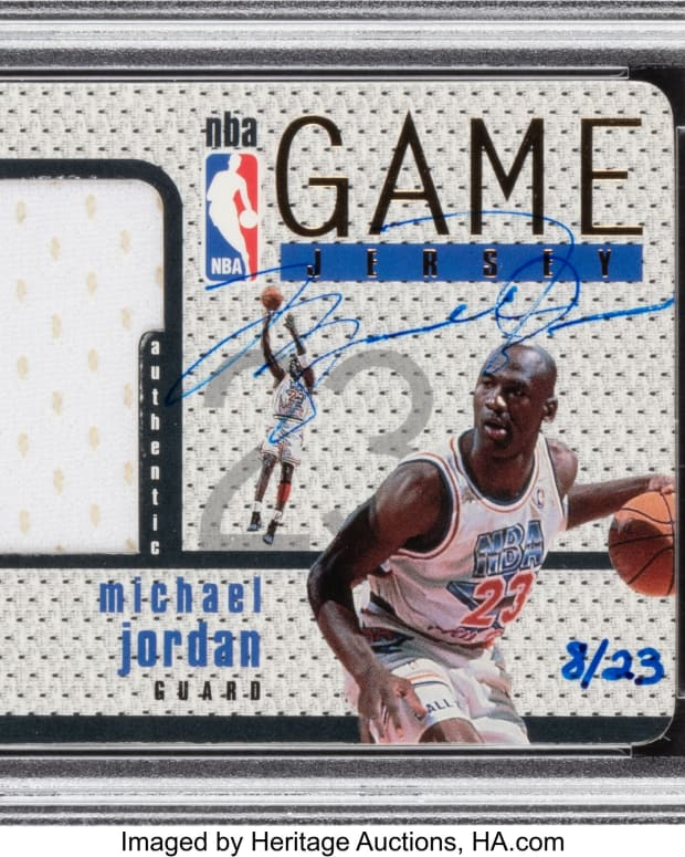 1997_Upper_Deck_Game_Jersey_Michael_Jordan_Autograph_GJ13S_PSA_NM_7_8_23_Heritage_Auctions
