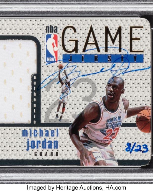 1997_Upper_Deck_Game_Jersey_Michael_Jordan_Autograph_GJ13S_PSA_NM_7_8_23_Heritage_Auctions