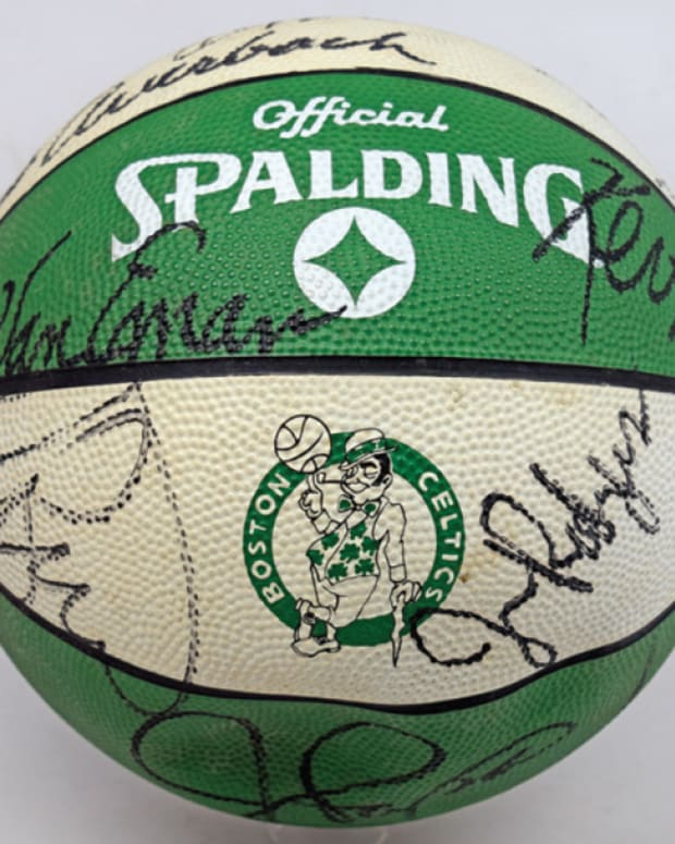 A team ball signed by the 1989-90 Boston Celtics.