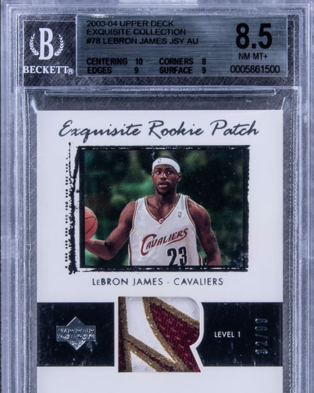 2003-04 Upper Deck Exquisite Collection LeBron James card up for bid at Goldin Auctions.