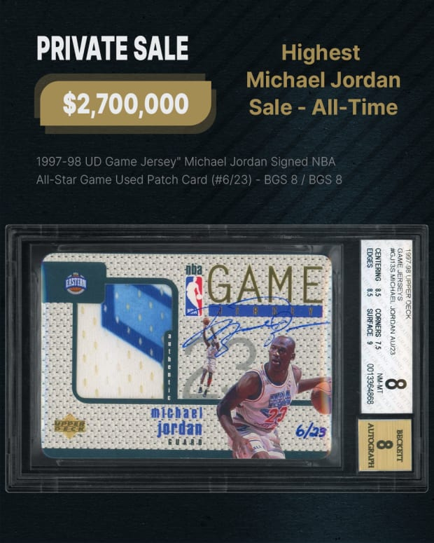 A Michael Jordan card from 1997-98 sold for a record $2.7 million at Goldin Auctions.