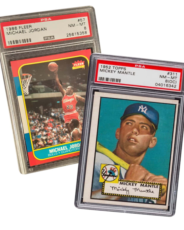 Mickey Mantle and Michael Jordan cards available in the Charitybuzz Trading Card Auction.