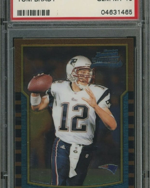 2000 Bowman Chrome Tom Brady card.