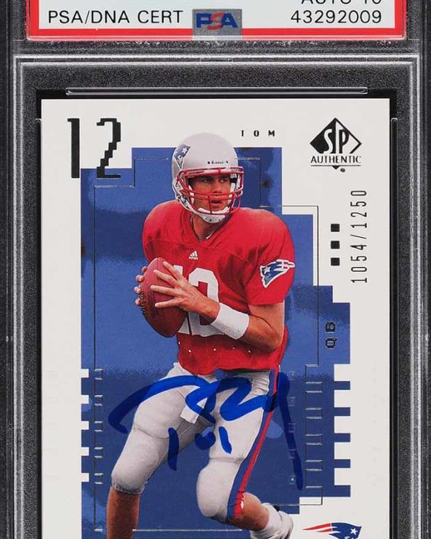 2000 SP Authentic Tom Brady rookie card.