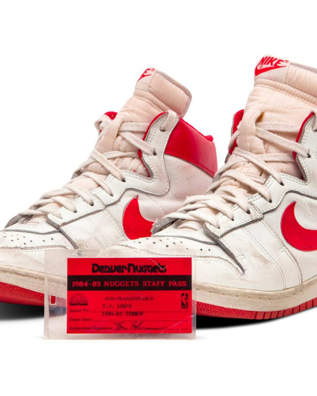 An autographed pair of Michael Jordan's Nike Air Ships from his rookie season in 1984, which sold for a record $1.4 million.