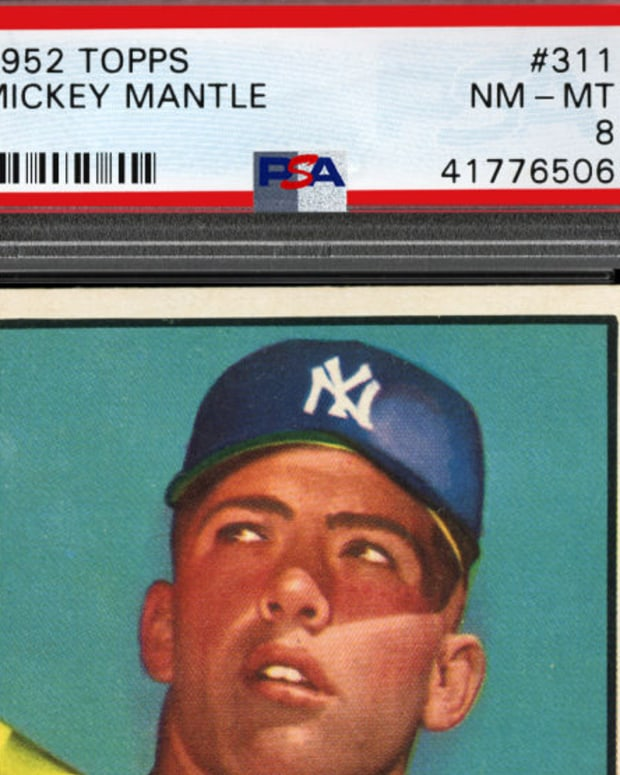 A PSA-graded 1952 Topps Mickey Mantle.