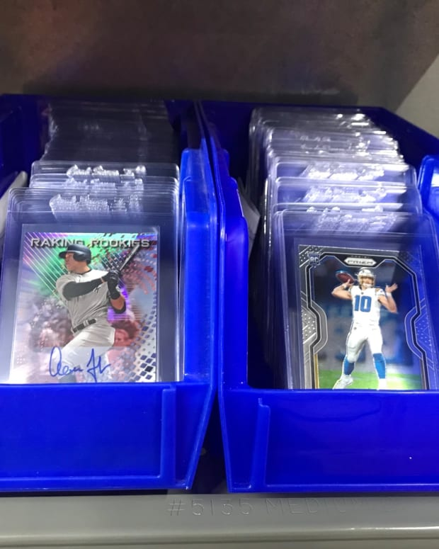 Sports cards ready to be graded by Beckett.