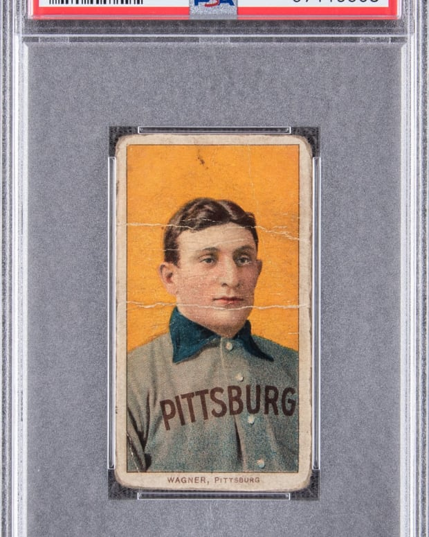 A T206 Sweet Caporal Honus Wagner being auctioned by Goldin Auctions.