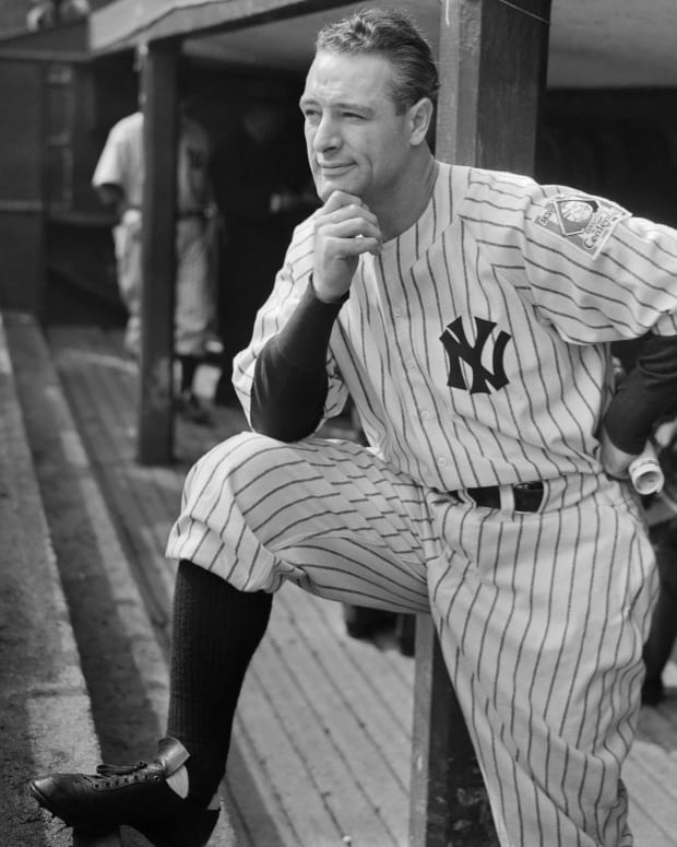 Lou Gehrig at Yankee Stadium in October, 1939.