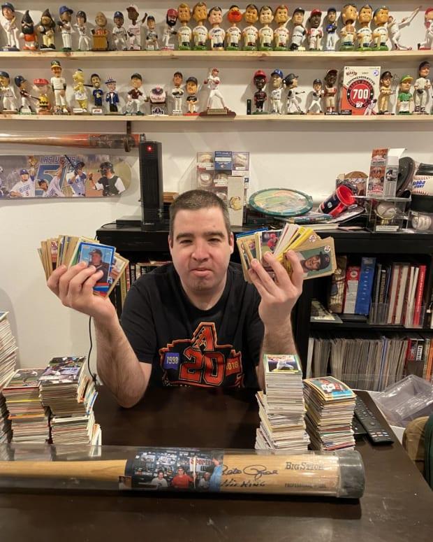 Paul Jones shows off his massive baseball card collection.