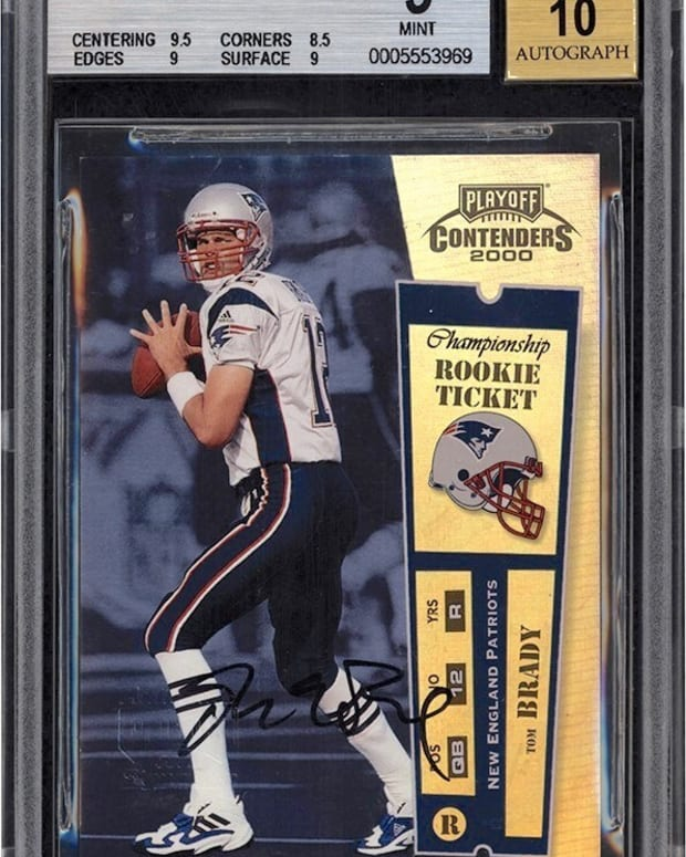 This Tom Brady rookie card sold for more than $3.1M at Lelands Auctions.