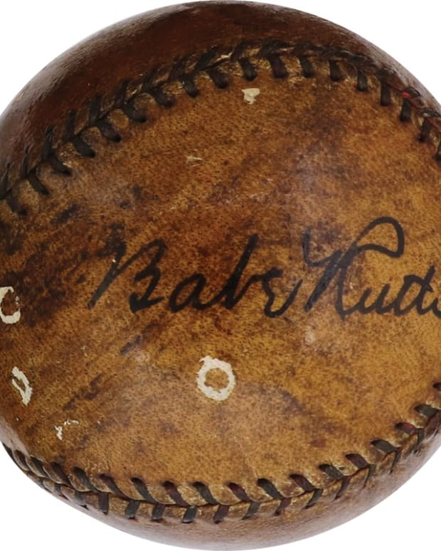 Baseball signed by Babe Ruth in 1929. The ball is accompanied by a video of Babe signing the ball.
