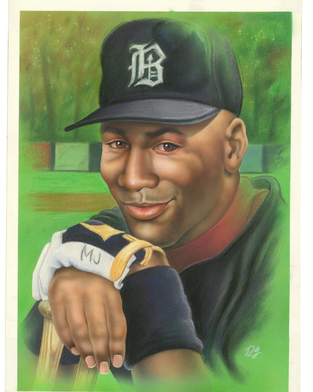 Michael Jordan baseball card painting commissioned by the Ted Williams Company in 1994.
