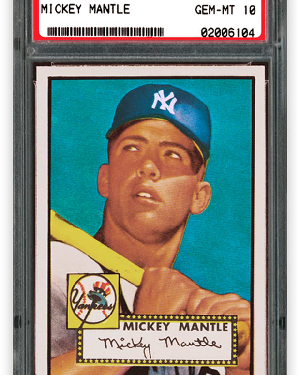 A 1952 PSA 10 Topps Mickey Mantle card on display at the Hall of Legends exhibit at the 2021 MLB All-Star Game.
