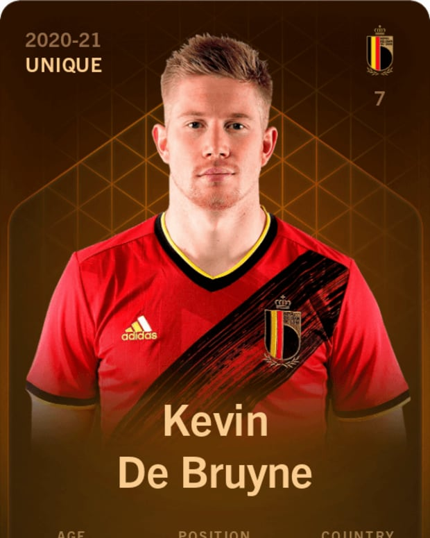 Digital trading card of soccer star Kevin de Bruyne.