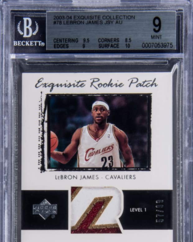 2003-04 Exquisite Collection LeBron James rookie card that sold for $2 million at Goldin Auctions.