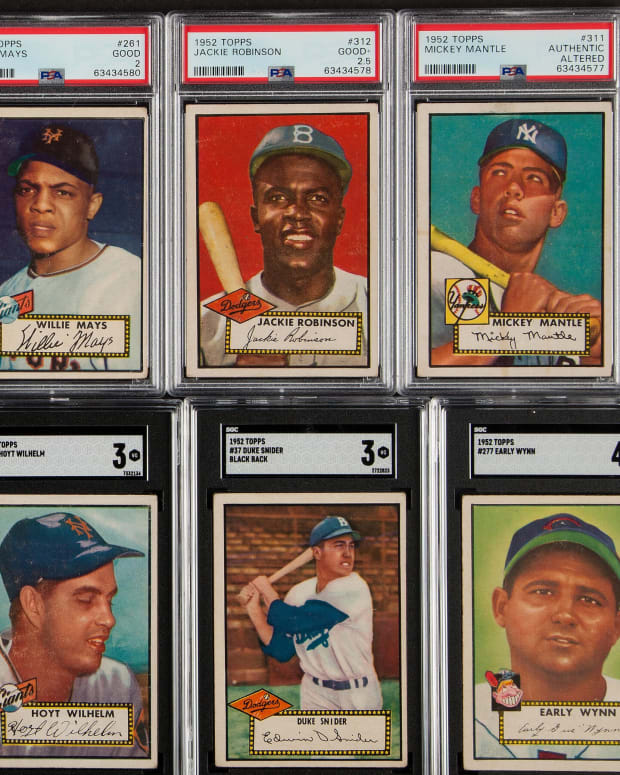A 1952 Topps Baseball set featuring Willie Mays, Jackie Robinson and Mickey Mantle.