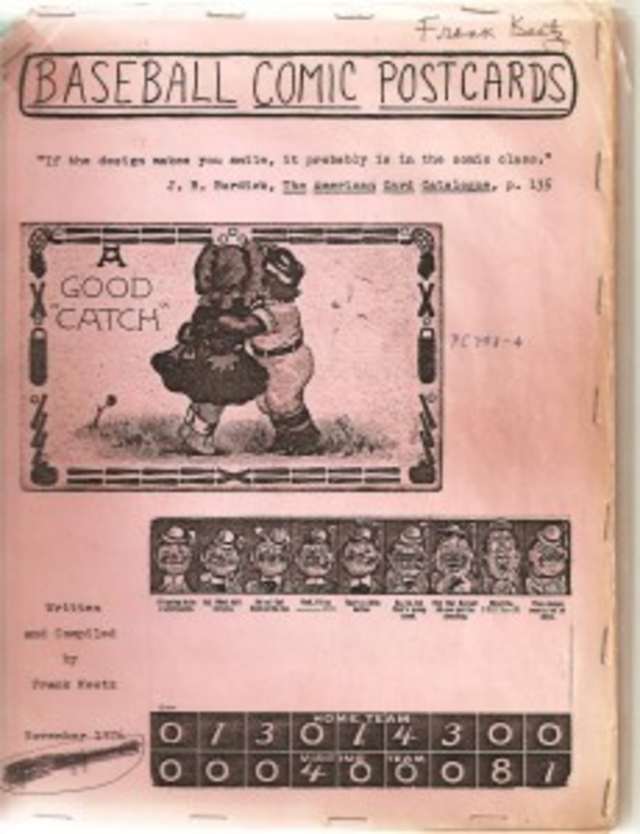 The cover of Frank's first catalog, Baseball Comic Postcards.