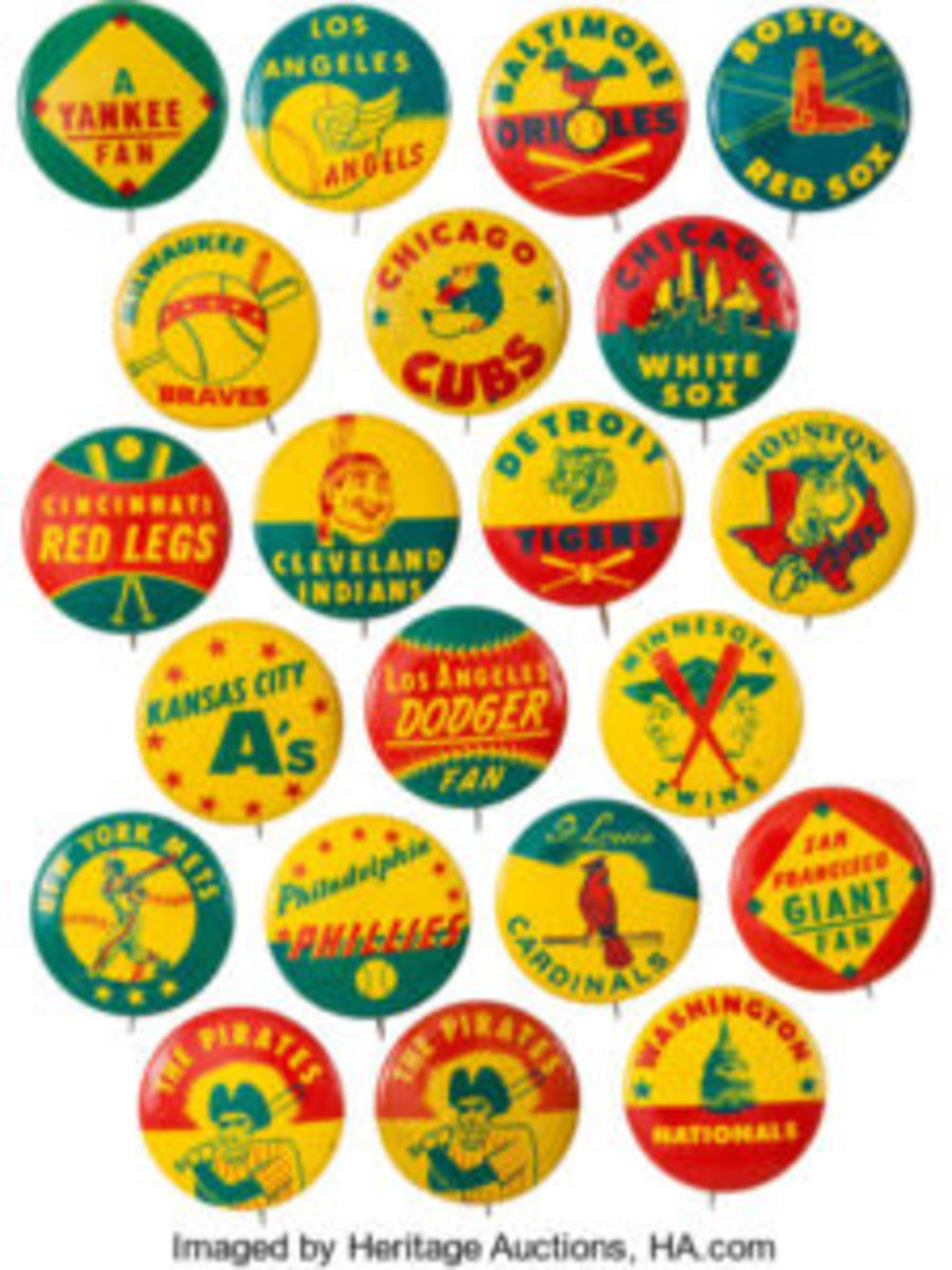 Metal MLB team pins came with a bag of Guy's brand of potato chips from 1964-66. Image courtesy of Heritage Auctions