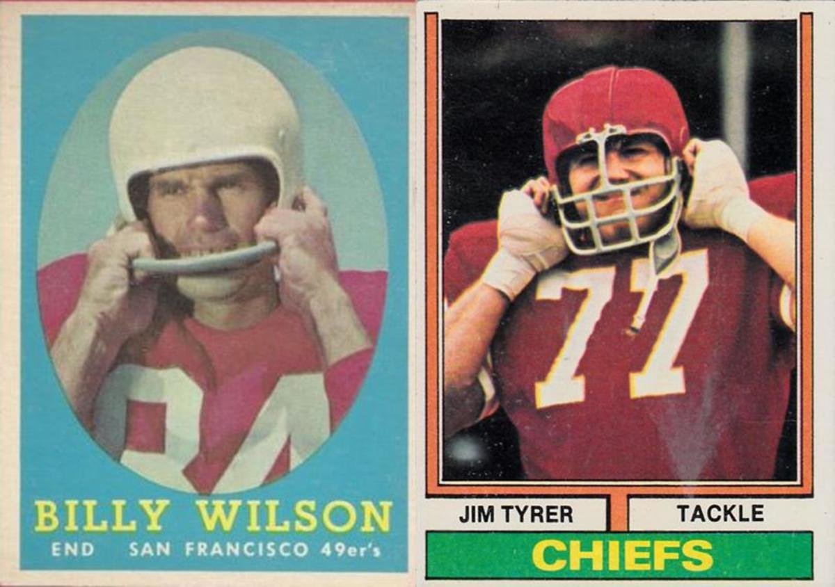 The 49ers helmets in 1957, when Billy Wilson's picture was taken, were plain white; therefore there wasn't much of an issue as to showing team logos anyway. By 1974, Jim Tyrer's helmet was completely airbrushed to eliminate any Chiefs logo.