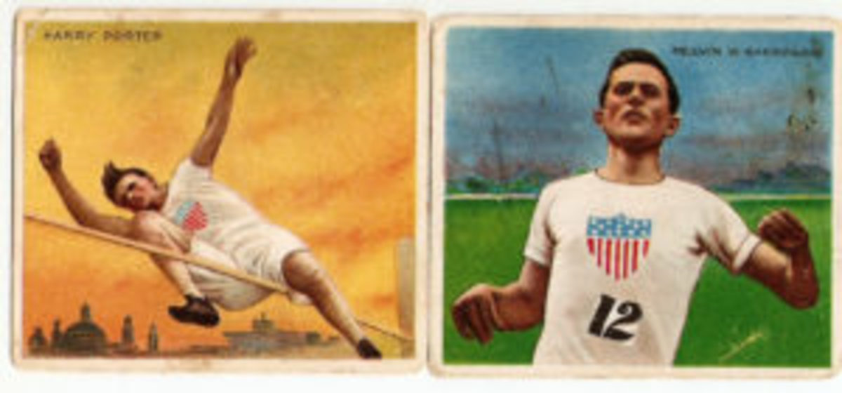The 1910 T218 set included 56 track and field athletes, some in dramatic poses.