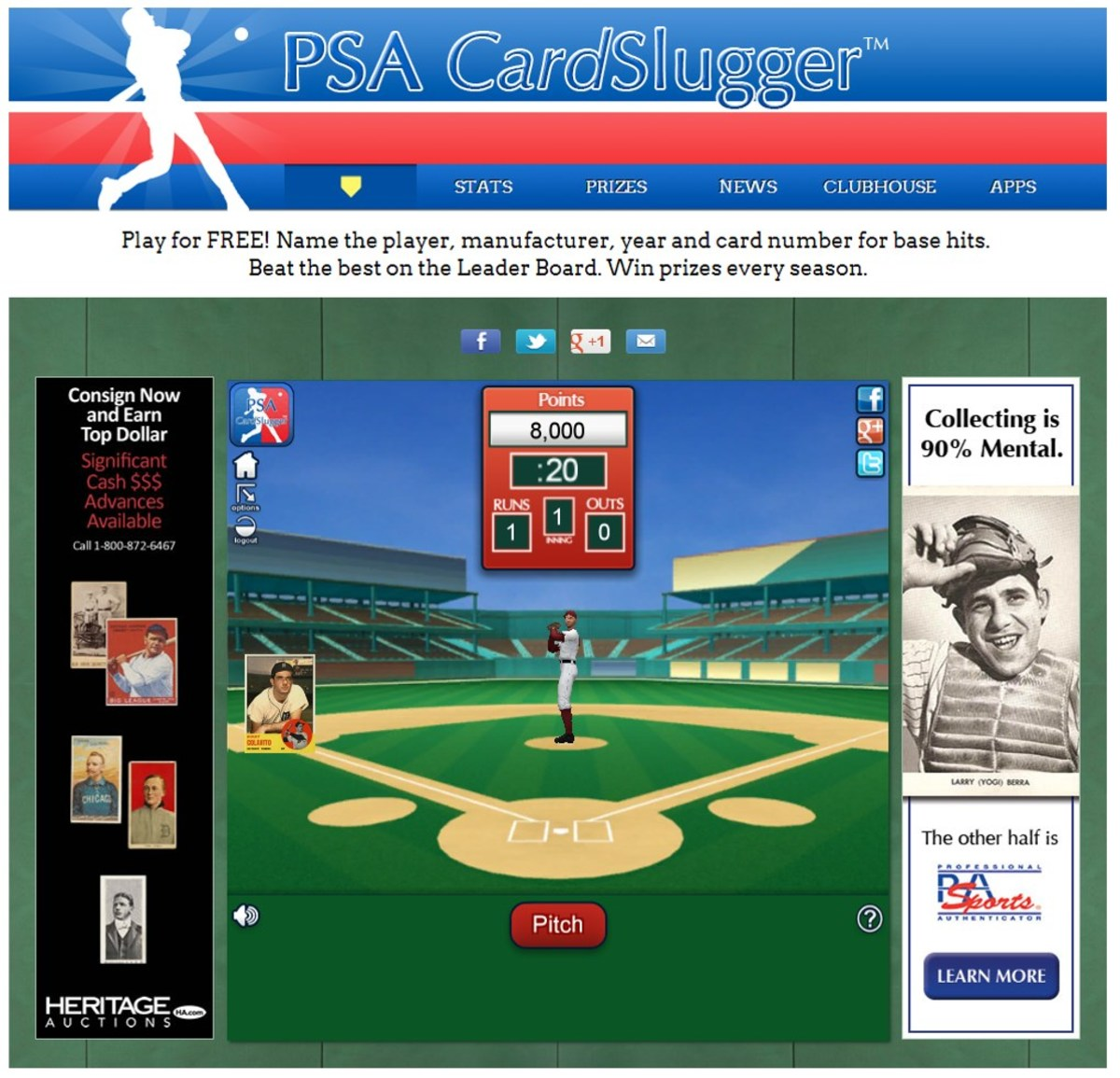 PSA Cardslugger home page