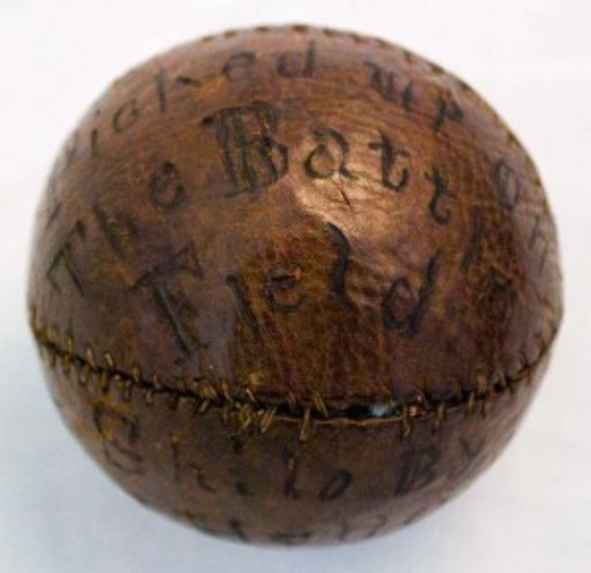 This baseball was found on the site of the Battle of Shiloh in 1862 during the Civil War.