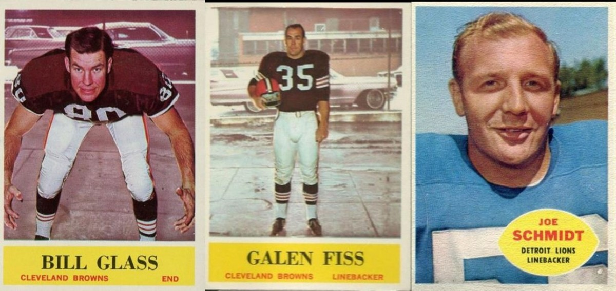 The Philadelphia Gum photographer managed to line up the 1964 Browns in front of a parking lot. Topps avoided most background problems although Joe Schmidt appears to have a hill and trees above one shoulder and the blue sky over his other shoulder.