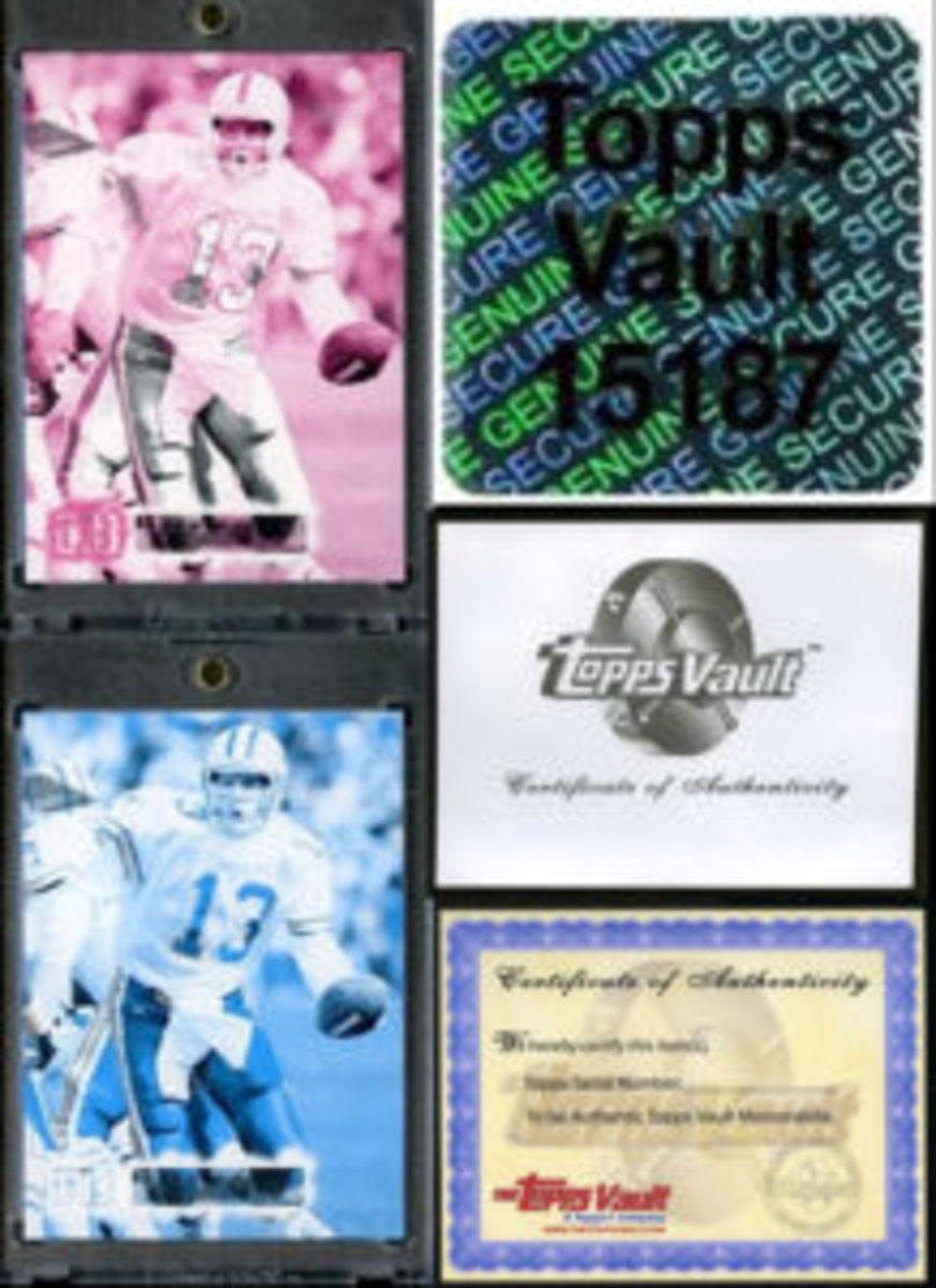 Typical Topps Vault sale item: color proofs, hologram, envelope and COA. (Photo courtesy The Topps company, Inc.)