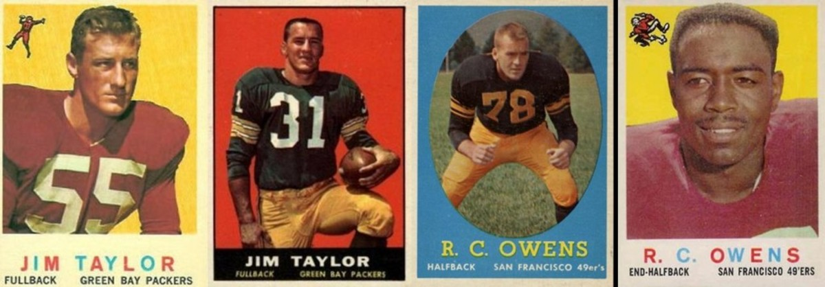 The 1959 (and 1960) card of Packer Jim Taylor was actually Jim Taylor of the Chicago Cardinals. Jim Taylor the Packer didn't get onto his own card until 1961. The 1958 R.C. Owens rookie card depicted Don Owens, but they got the right Owens on his 1959 card. You would think the players' uniform colors and uniform numbers would have been among the clues that something was wrong; 55 is not a number for a fullback and halfbacks don't wear 78s.