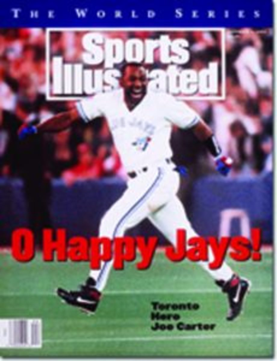 The cover of Sports Illustrated featuring Joe Carter's historic World Series home run.