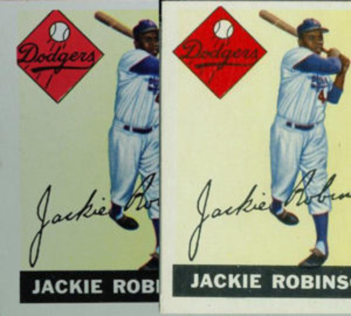 "Like the Wehmeier card, Jackie Robinson's corrected card (right) restores the entire logo and extends his name plate 1/16"" further left."