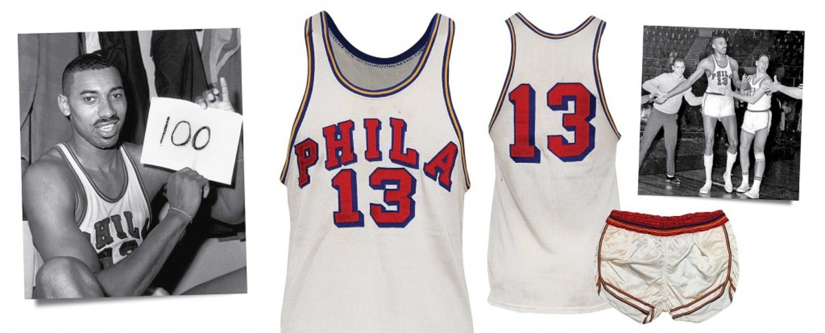 Wilt Chamberlain game-used Philadelphia Warriors home uniform from 1961-62 NBA season featuring legendary 100-point performance. Sold for $130,054; record price for a Wilt Chamberlain jersey at auction. Grey Flannel Auctions image