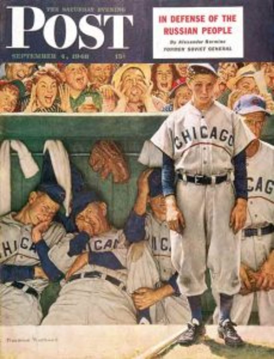 "The September 4, 1948 edition of the Saturday Evening Post features Rockwell's painting, ""The Dugout."""