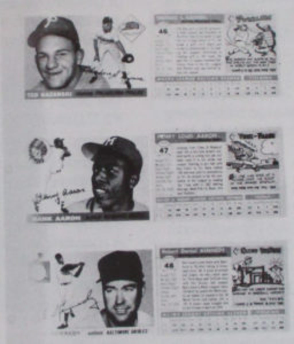 Binders documented each set with two cards of each player glued front and back. (Image from auction catalog)