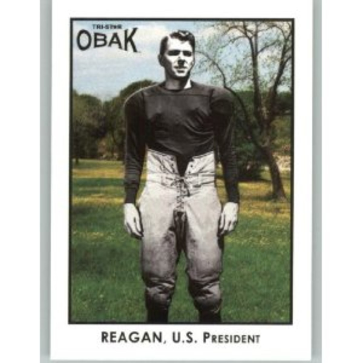 "Photo of card of Ronald Reagan as actor playing George Gipp in the 1940 movie ""Knute Rockne: All American."""