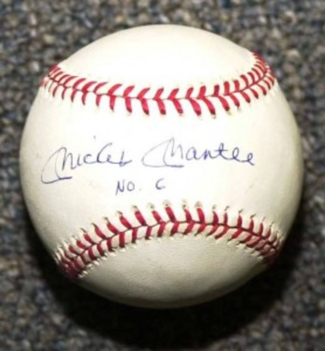 A forged Mantle baseball but this one is signed with No. 6 – an apparent mistake by the forgers that was not a mistake at all.