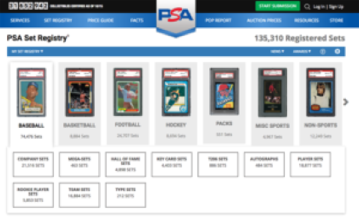The main page of the PSA Set Registry website provides collectors with a plethora of choices for which to browse or participate in.
