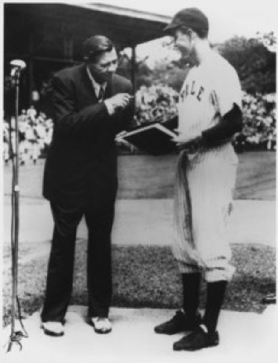 A famous photo is the meeting between Babe Ruth and future president George H.W. Bush while he was a first baseman at Yale.