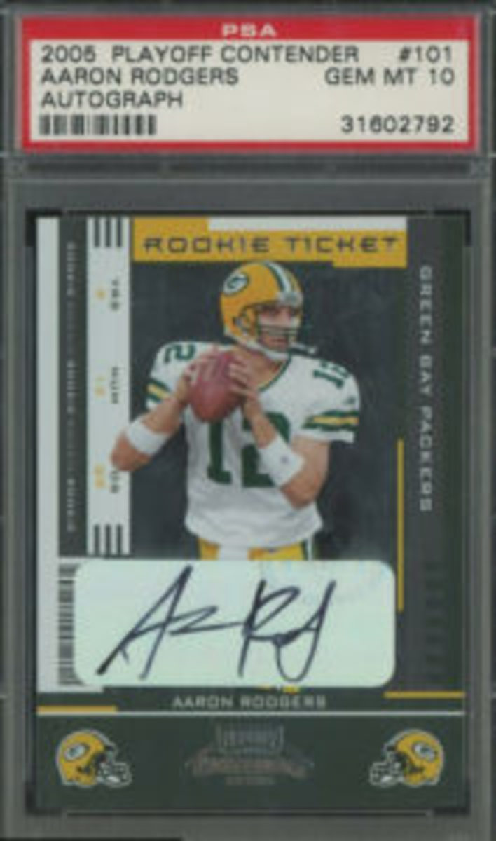 Aaron Rodgers 2005 Playoff Contenders Rookie Ticket card.
