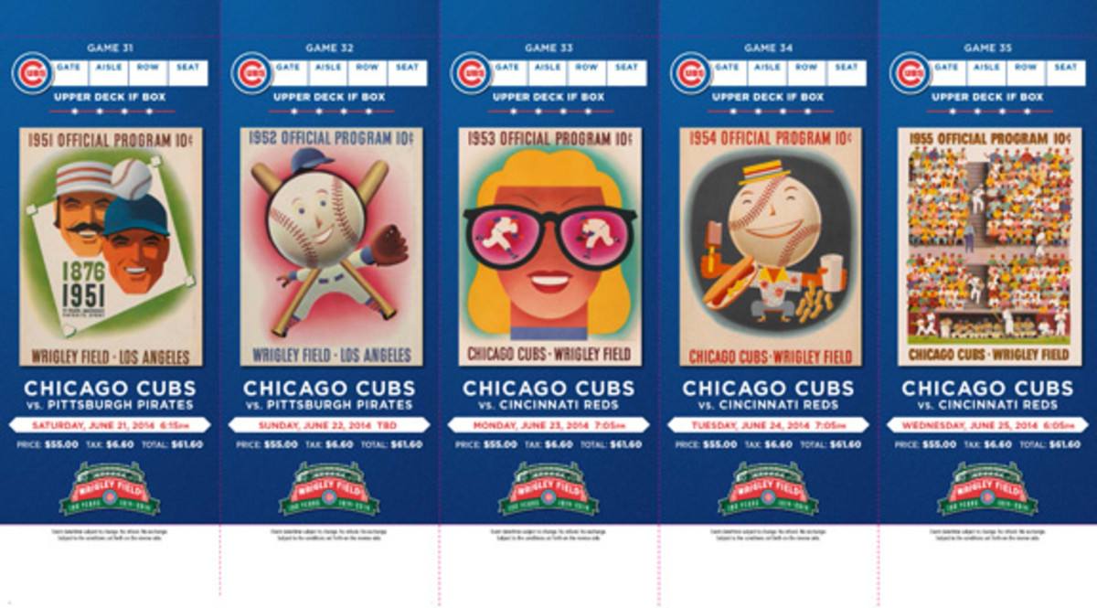 Playing off the success of the 2013 season ticket designs that featured Topps cards, the Chicago Cubs celebrated 100 years of Wrigley Field in 2014 by showcasing covers of programs used over the course of the team's history. All were presneted in booklets that many ticket holders kept intact.