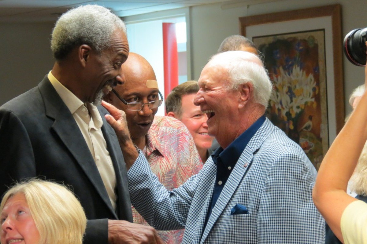 """Darnell """"Dr. Dunk"""" Hillman (left), George McGinnis (center) and Bobby """"Slick"""" Leonard (right) share a laugh during the Patron's Reception at the Dropping Dimes Foundation's Tip-Off Event and Fundraiser this past summer. Photos courtesy of Joe Dynlacht."""
