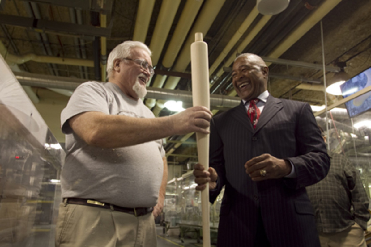 Ozzie Smith got a personal tour of the Louisville Slugger factory, where he checked out some of the bats on the production floor.
