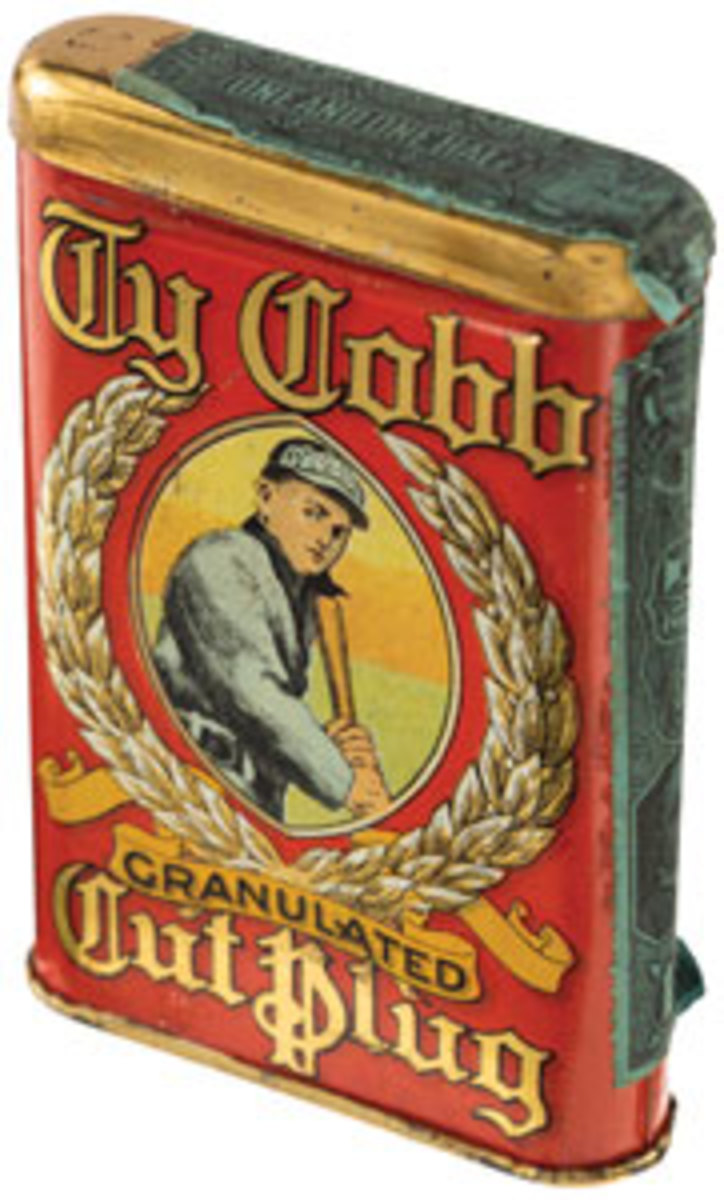 """Extremely rare Ty Cobb Tobacco tin - the finest example on the planet!This circa 1910 """"Ty Cobb Granulated Cut Plug"""" tin is estimated at $100,000 and up."""