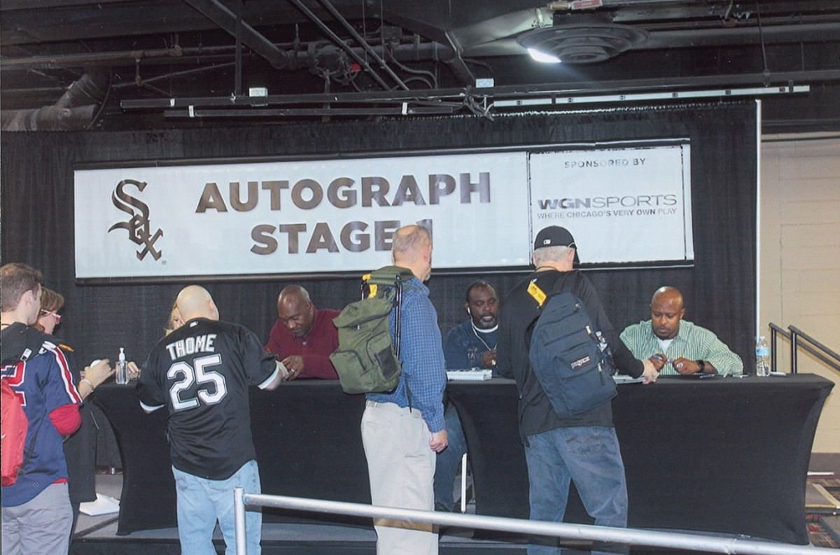 Former Sox players, left to right, Chet Lemon, Carl Everett and Willie Harris.