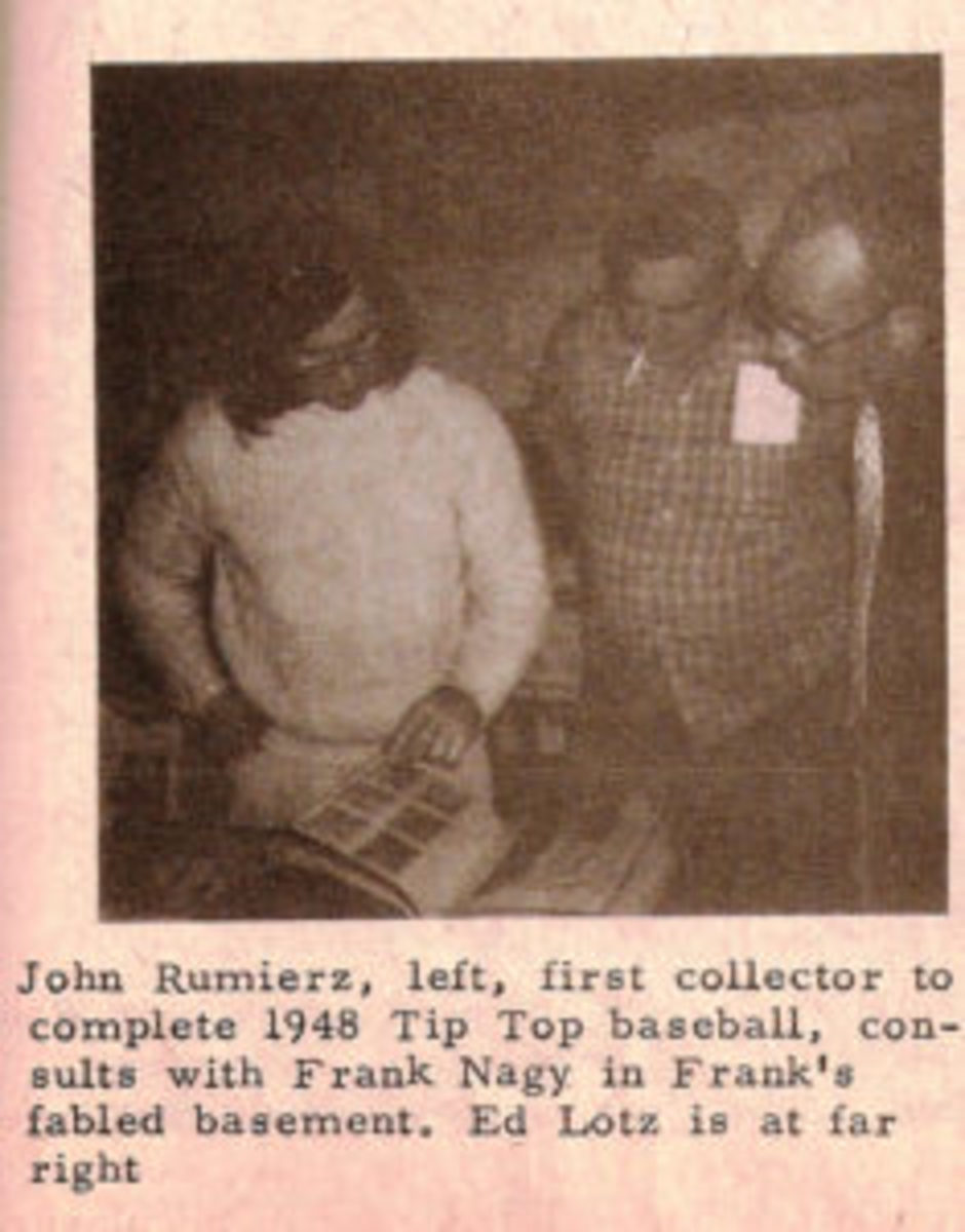 This photo of John Rumierz and his Tip Tops in Frank Nagy's basement appeared in a Baseball Hobbyist issue in 1974.